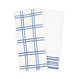 KitchenSmart® Colors Plaid Windowpane Kitchen Towels in Capri (Set of 2)