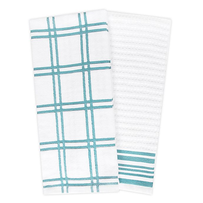 Alternate image 1 for KitchenSmart® Colors 2 Plaid Windowpane Kitchen Towels in Teal (Set of 2)