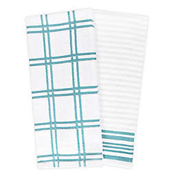 KitchenSmart® Colors 2 Plaid Windowpane Kitchen Towels in Teal (Set of 2)