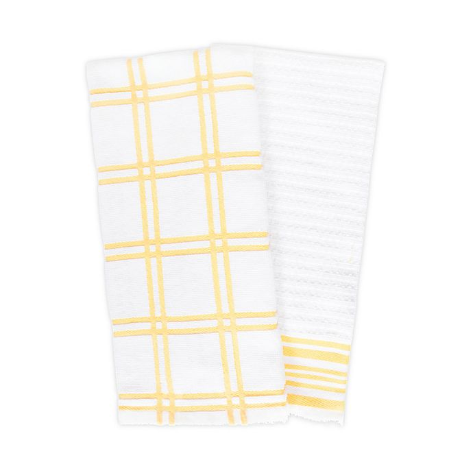 Alternate image 1 for KitchenSmart® Colors 2 Plaid Windowpane Kitchen Towels in Canary (Set of 2)