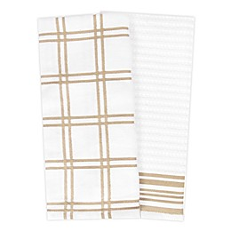 KitchenSmart® Colors 2 Plaid Windowpane Kitchen Towels in Sand (Set of 2)