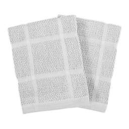 KitchenSmart® Colors Solid Dish Cloths in Silver (Set of 2)