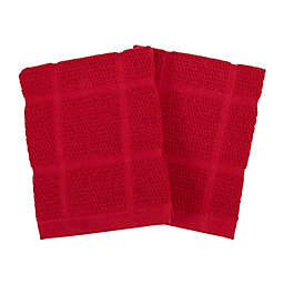 KitchenSmart® Colors Solid Dish Cloths in Red (Set of 2)