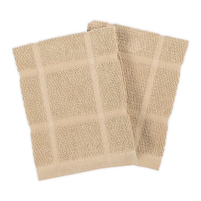 Alternate image 1 for KitchenSmart® Colors Solid Dish Cloths in Sand (Set of 2)