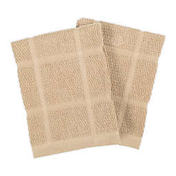 KitchenSmart® Colors Solid Dish Cloths in Sand (Set of 2)