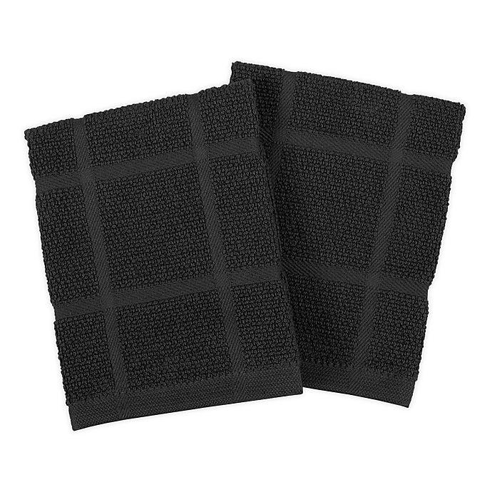 Alternate image 1 for KitchenSmart® Colors Solid Dish Cloths in Black (Set of 2)