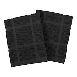 KitchenSmart® Colors Solid Dish Cloths in Black (Set of 2)