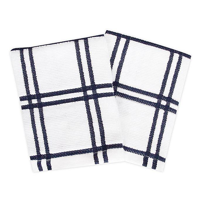 Alternate image 1 for KitchenSmart® Colors 2 Plaid Dish Cloths in Navy (Set of 2)