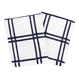KitchenSmart® Colors Plaid Dish Cloths in Navy (Set of 2)