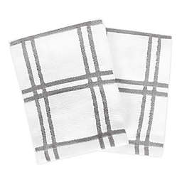 KitchenSmart® Colors Plaid Dish Cloths in Grey (Set of 2)