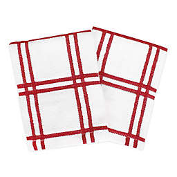 KitchenSmart® Colors Plaid Dish Cloths in Red (Set of 2)