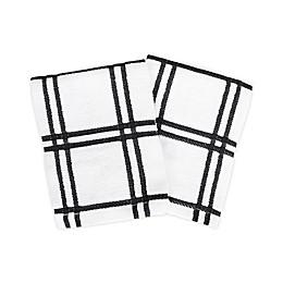 KitchenSmart® Colors 2 Plaid Dish Cloths in Black (Set of 2)
