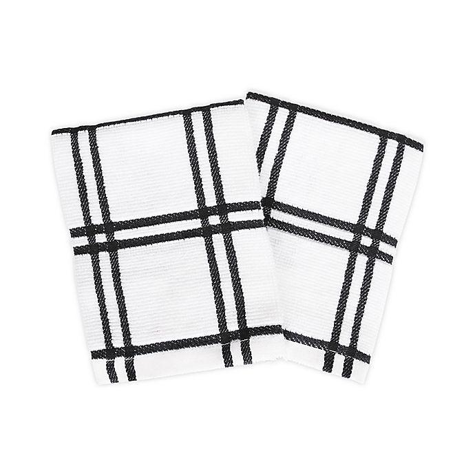 Alternate image 1 for KitchenSmart® Colors 2 Plaid Dish Cloths in Black (Set of 2)