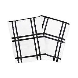 KitchenSmart® Colors Plaid Dish Cloths in Black (Set of 2)