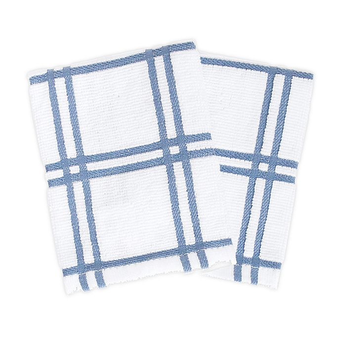 Alternate image 1 for KitchenSmart® Colors 2 Plaid Dish Cloths in Capri (Set of 2)