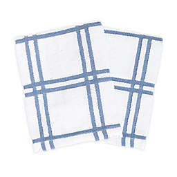 KitchenSmart® Colors Plaid Dish Cloths in Capri (Set of 2)