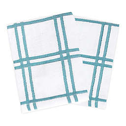 KitchenSmart® Colors 2 Plaid Dish Cloths in Teal (Set of 2)