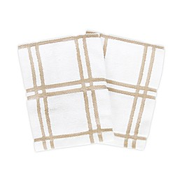 KitchenSmart® Colors 2 Plaid Dish Cloths in Sand (Set of 2)