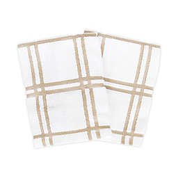 KitchenSmart® Colors Plaid Dish Cloths in Sand (Set of 2)