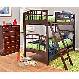Epoch McKenzie 2-Piece Twin Over Twin Bunk Bed Set in Coffee