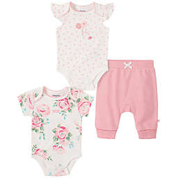 Absorba® 3-Piece Rose Bodysuits and Pant Set in Pink