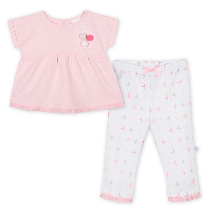 Alternate image 1 for Just Born® 2-Piece Pompom Peplum Top and Pant Set in Pink