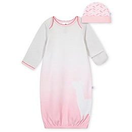 Just Born® Size 0-6M 2-Piece Llama Gown and Cap Set in Pink