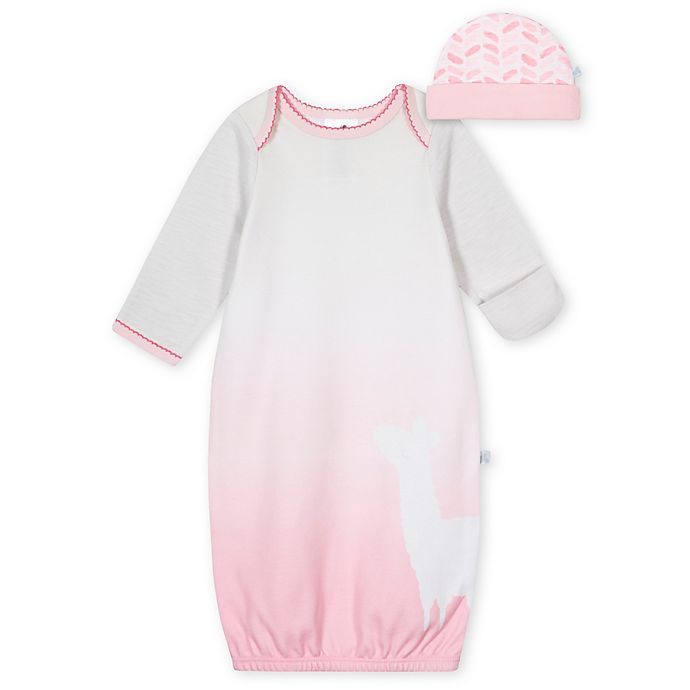 Alternate image 1 for Just Born® Size 0-6M 2-Piece Llama Gown and Cap Set in Pink