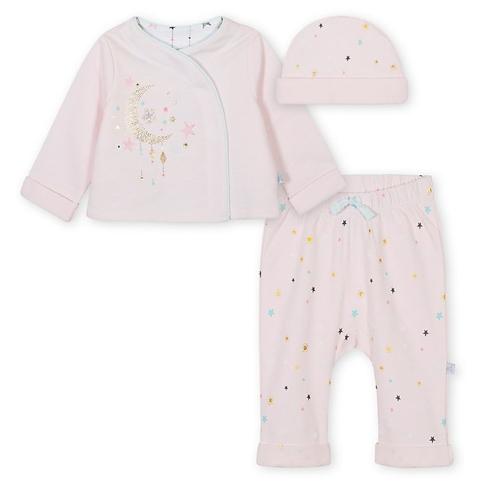 Alternate image 1 for Just Born® 3-Piece Take Me Home Kimono Shirt, Pant, and Hat Set in Pink