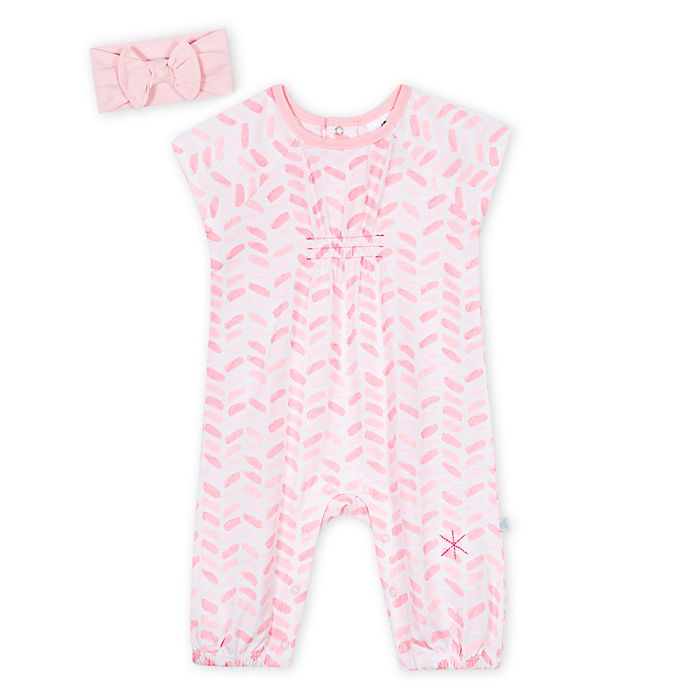 Alternate image 1 for Just Born 2-Piece Ombre Romper and Headband Set in Pink