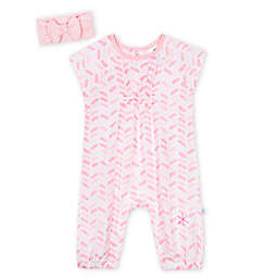Just Born 2-Piece Ombre Romper and Headband Set in Pink