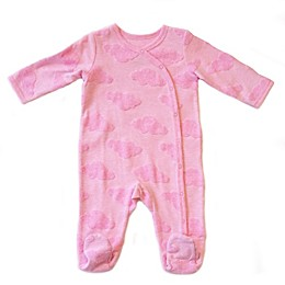 Sterling Baby Fuzzy Clouds Footed Coverall in Pink