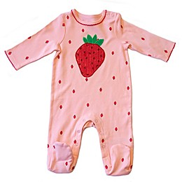 Sterling Baby Strawberry Footed Coverall in Pink