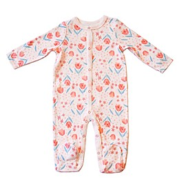 Sterling Baby Tulip Print Coverall in White/Pink