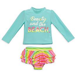 Wetsuit Club 2-Piece Beauty Beach Long Sleeve Rashguard Set in Aqua