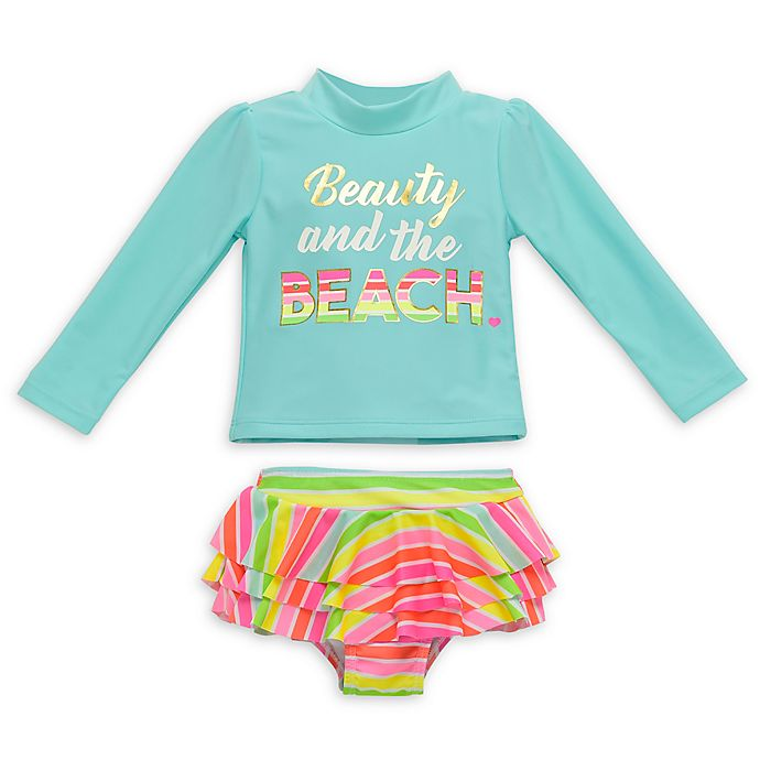 Alternate image 1 for Wetsuit Club 2-Piece Beauty Beach Long Sleeve Rashguard Set in Aqua