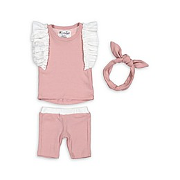 HannaKay by Manière 3-Piece Ruffle Sleeve Short Set in Mauve/White