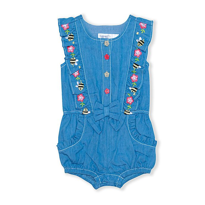 Alternate image 1 for Nanette Baby® Chambray Denim Romper
