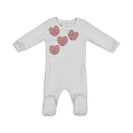 HannaKay by Manière Ruched Hearts Footie in Pink