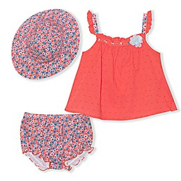 Nanette Baby® 3-Piece Swiss Dot Top, Bloomer and Hat Set in Coral