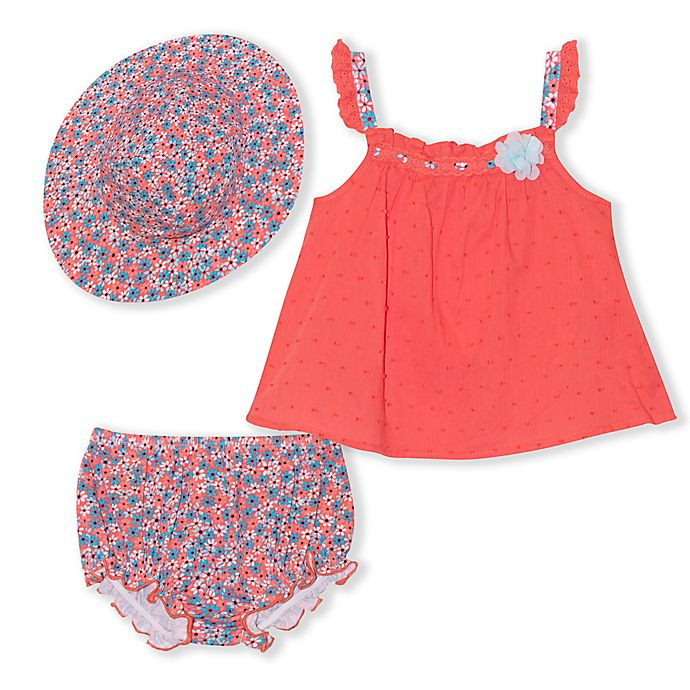 Alternate image 1 for Nanette Baby® 3-Piece Swiss Dot Top, Bloomer and Hat Set in Coral