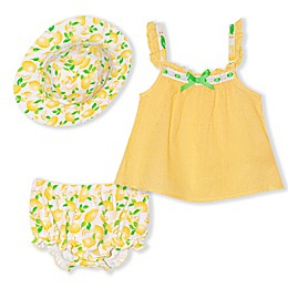 Nannette Baby® 3-Piece Lemon Dress, Hat and Diaper Cover Set