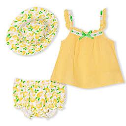 Nannette Baby® 3-Piece Lemon Dress, Hat and Diaper Cover Set