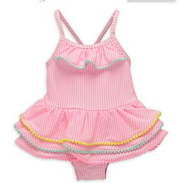 Wetsuit Club Tiered Gingham Bathing Suit in Pink