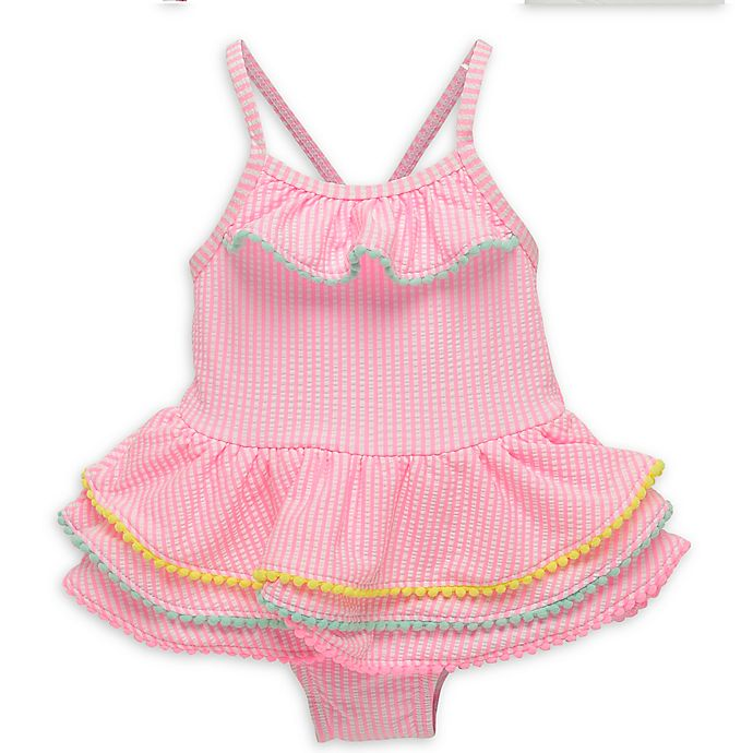 Alternate image 1 for Wetsuit Club Tiered Gingham Bathing Suit in Pink