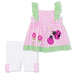 Nanette Baby® 2-Piece Ladybug Seersucker Top and Short Set in Pink