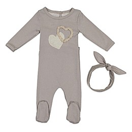 HannaKay by Manière 2-Piece Hearts Footie and Headband Set in Grey