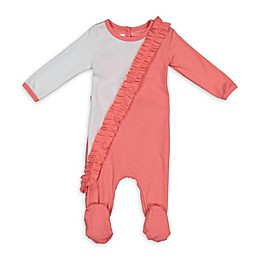 HannaKay by Manière Diagonal Ruffle Footed Coverall in Pink