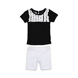 HannaKay by Manière 2-Piece Tuxedo Shirt and Short Set in Black/White