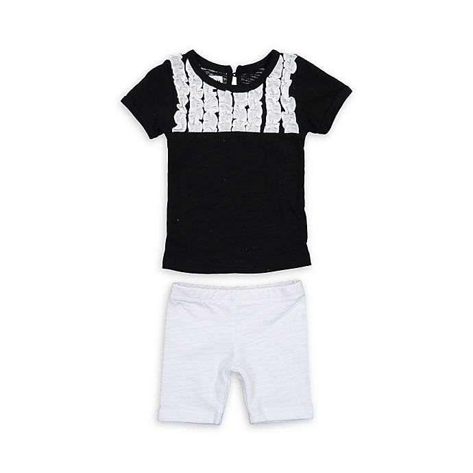 Alternate image 1 for HannaKay by Manière Size 0-3M 2-Piece Tuxedo Shirt and Short Set in Black/White